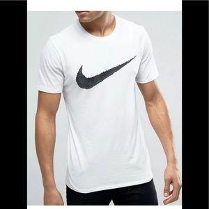 NIKE Men's Nike T-Shirt L White Black Grey Swoosh